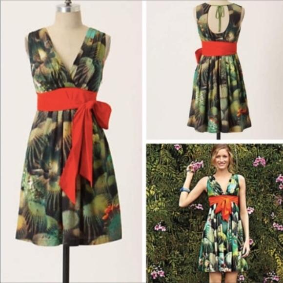 Anthropologie Dresses & Skirts - Anthropologie-Eva Franco Floral Red Sash Dress